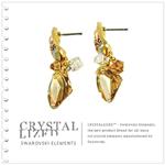 新光飾品‧黃色魅影菱形水晶耳環 EH88077