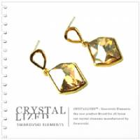 新光飾品‧金色魅影菱形水晶耳環 EH88081