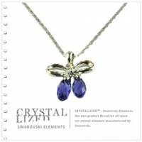 新光飾品‧紫藍色魅影蝴蝶結水晶項鏈 XL88136