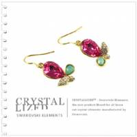 新光飾品‧紅色魅影水滴形水晶耳環 EH88063