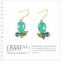新光飾品‧藍色魅影水滴形水晶耳環 EH88063