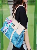 《完美比例》 浪漫溫柔絲巾柏金造型包~藍