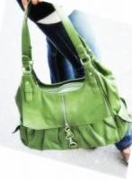 《完美比例》 拉鍊造型兩邊口袋梯形包~~綠