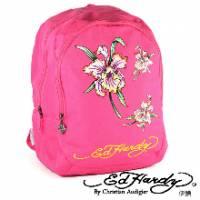 《ED Hardy》印刷花朵雙層中背包粉色款