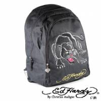 《ED Hardy》刺繡黑豹雙層大背包-黑色