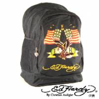 《ED Hardy》印花美國老鷹三層大背包-黑色