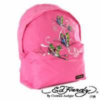 《ED Hardy》印刷蝴蝶雙層中背包粉色款