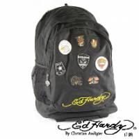 《ED Hardy》刺繡徽章三層拉桿旅行背包