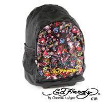 《ED Hardy》印花經典刺青圖騰三層拉桿旅行背包
