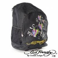 《ED Hardy》印刷蝴蝶三層拉桿旅行背包
