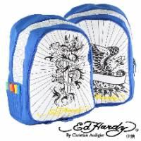 《ED Hardy》飛龍彩繪塗鴉中背包藍色款