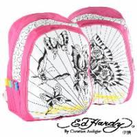 《ED Hardy》蝴蝶彩繪塗鴉中背包粉色款