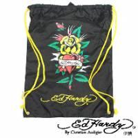 《ED Hardy》印刷玫瑰愛心多功能背袋黑色款