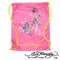 《ED Hardy》印刷蝴蝶多功能背袋粉色款