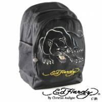 《ED Hardy》印花黑豹三層大背包-黑色