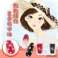 日本LUCKY法式點點繽紛三色指甲油-DNC683附彩繪點點筆