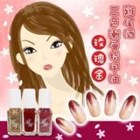 日本LUCKY果凍雞尾酒三色漸層指甲油 玫瑰金 3入-591
