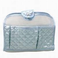 《氣質菱格》緞面透視包中袋 藍