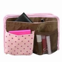 《粉色圓點》厚質多格包中袋