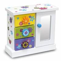 Wally Fun 花語-立體版 木製化妝鏡收納盒 - 三抽單開款
