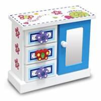Wally Fun 花蝴蝶-立體版 木製化妝鏡收納盒 - 三抽單開款