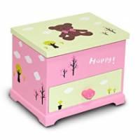 Wally Fun 粉紅秋意熊 木製化妝鏡收納盒 - 單抽可掀化妝鏡款