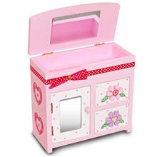Wally Fun 緞帶花首飾盒A 木製化妝鏡收納盒 - 雙抽一門化妝鏡款