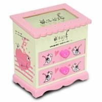 Wally Fun 粉紅蝸牛的家 木製化妝鏡收納盒 - 雙抽可掀玻璃上蓋款