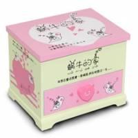Wally Fun 粉紅蝸牛的家 木製化妝鏡收納盒 - 單抽可掀化妝鏡款