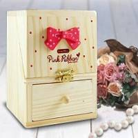 韓版木製超Q珠寶收納盒~附小化妝鏡
