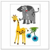 動物的對話-大象.長頸鹿壁貼
