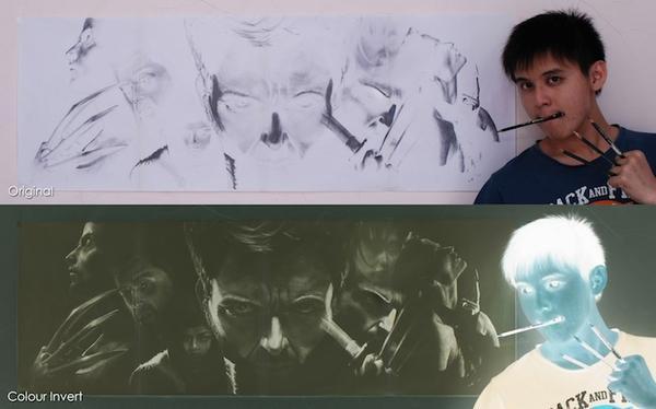 用鉛筆畫出負片效果肖像畫