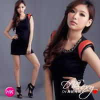 DV辣妹時尚 HK0020 香港限量精品接皮袖時尚包臀裝洋裝