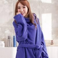 床之戀 台灣精製多用途超輕保暖纖維暖人袖毯浴袍 藍色