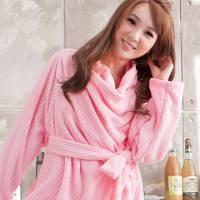 床之戀 台灣精製多用途超輕保暖纖維暖人袖毯浴袍 粉色