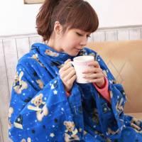 【床之戀】台灣精製-美式超舒柔多用途加大保暖袖毯 冷氣毯-藍