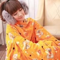 【床之戀】超值3入台灣精製-美式超舒柔多用途加大保暖袖毯 冷氣毯-橘