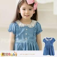 【魔法Baby】韓版公主蕾絲花邊泡袖連身裙 洋裝~女童裝~k28256