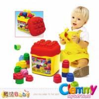 魔法Baby~【clemmy品牌】義大利原裝進口軟積木~20pcs正色桶裝積木~a14741
