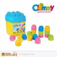 魔法Baby~【clemmy品牌】義大利原裝進口軟積木~20pcs粉色桶裝積木~a14771