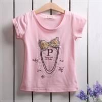 【換季↘69折】魔法Baby ~蝴蝶結粉紅短T~童裝~女童裝~時尚設計童裝~k19322
