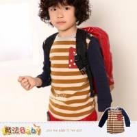 【魔法Baby】時尚童裝DODOMO~條紋小貓口袋長袖TEE 上衣~男女童裝~k29130