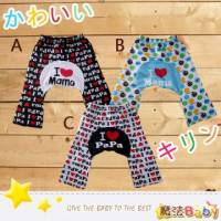 【魔法Baby】I LOVE PA MA PP長褲 褲子 A.B.C ~男女童裝~k29499