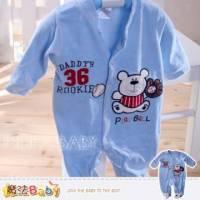 【魔法Baby】法國設計小熊打棒球細絲絨包腳連身衣 包屁衣~男童裝~k29727