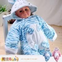 百貨專櫃正品LE18~超厚雪絨鋪棉連帽包腳連身衣 包屁衣 藍.粉 ~男女童裝~k32031