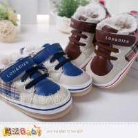 魔法Baby~【KUKI酷奇】經典舒適格紋寶寶鞋 學步鞋 藍.咖 ~男女童鞋~sh3256
