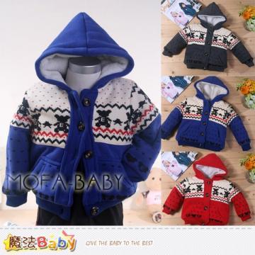 魔法Baby~加厚羊羔絨內裡極暖連帽外套(藍.紅.灰)~男女童裝~k32994