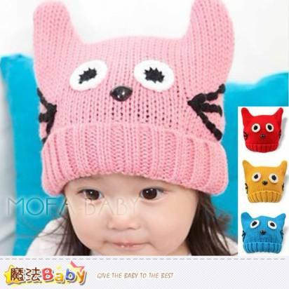 寶寶毛線帽~秋冬保暖貓咪造型毛線帽~魔法Baby~k33137