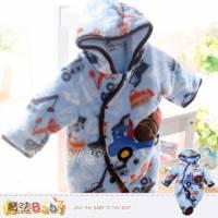 厚鋪棉連身衣~珊瑚絨厚款鋪棉連帽連身衣~嬰兒服~魔法Baby~k33151
