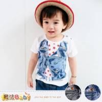 嬰幼兒肩開釦T恤~百貨專櫃正品純棉上衣 藍.灰圖案,隨機出貨 ~魔法Baby~k35131